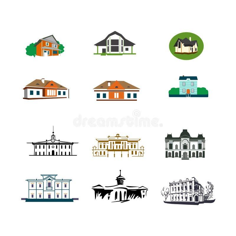 Ilustração dos ícones dos logotipos das casas de campo das casas das vilas da casa de campo fotos de stock