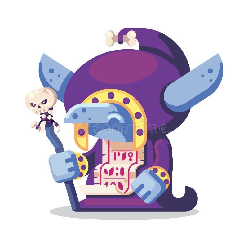Ilustração dos ícones dos monstro e dos heróis do caráter do jogo do RPG da fantasia feiticeiro mau do curandeiro do diabrete ilustração stock