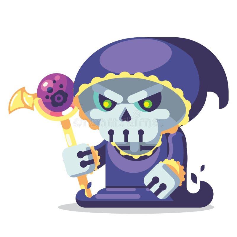 Ilustração dos ícones dos monstro e dos heróis do caráter do jogo do jogo do RPG da fantasia lich de esqueleto do necromante mau ilustração stock