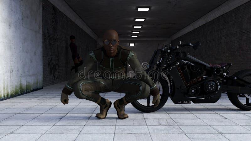 Ilustração dos óculos de sol vestindo de um homem que agacham-se na frente de uma motocicleta preta com a mulher no fundo em um t ilustração stock