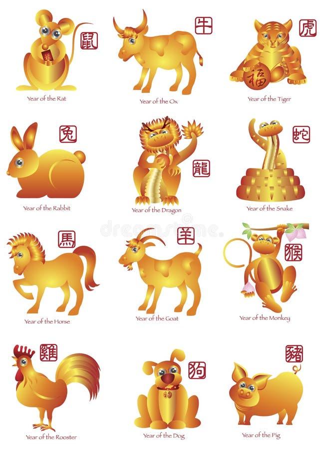Ilustração dos animais do zodíaco do chinês doze ilustração royalty free