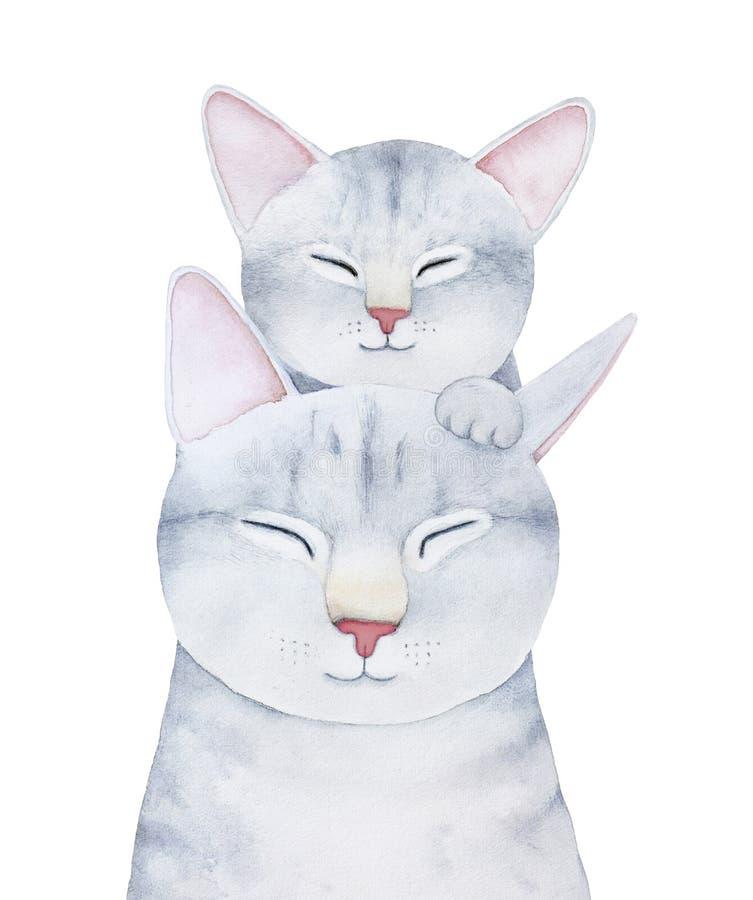 Ilustração dos caráteres da família do gato e do gatinho ilustração stock