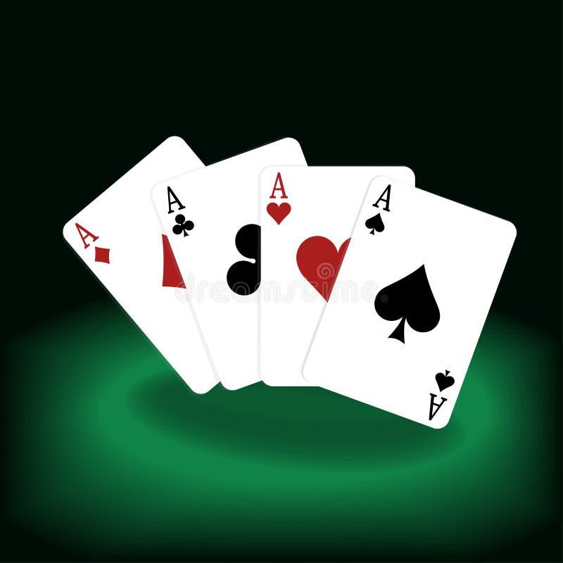 Ilustração dos cartões, pôquer dos ás ilustração stock