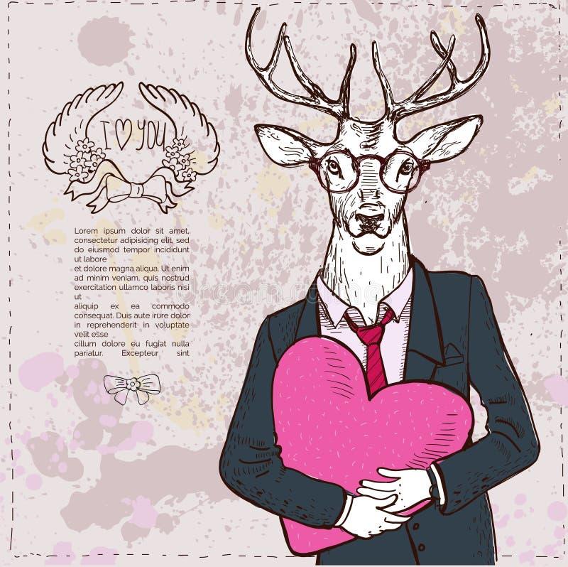 Ilustração dos cervos da forma do Vintage-moderno ilustração do vetor
