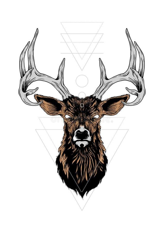 Ilustração dos cervos e elemento da terra fotografia de stock royalty free