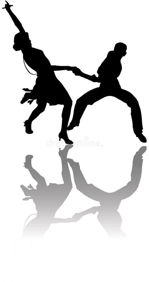 Ilustração dos dançarinos com reflexão ilustração do vetor