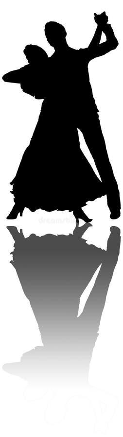 Ilustração dos dançarinos com reflexão ilustração royalty free