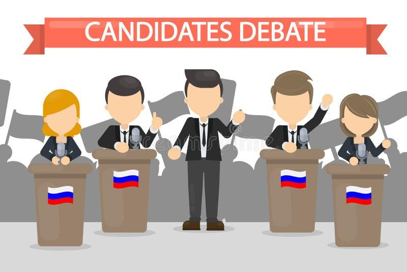 Ilustração dos debates dos candidatos ilustração stock
