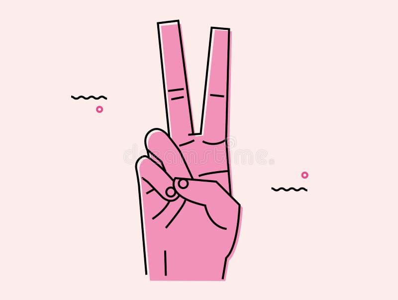 Ilustração dos dedos da vitória ilustração do vetor