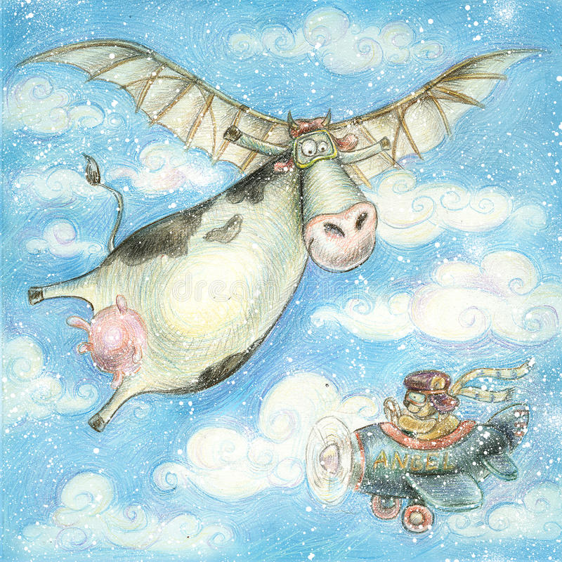 Ilustração dos desenhos animados com vaca e urso Cartão do feriado Ilustração das crianças ilustração royalty free