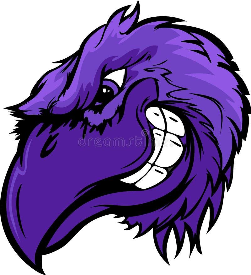 Ilustração dos desenhos animados da cabeça do pássaro do corvo ilustração royalty free