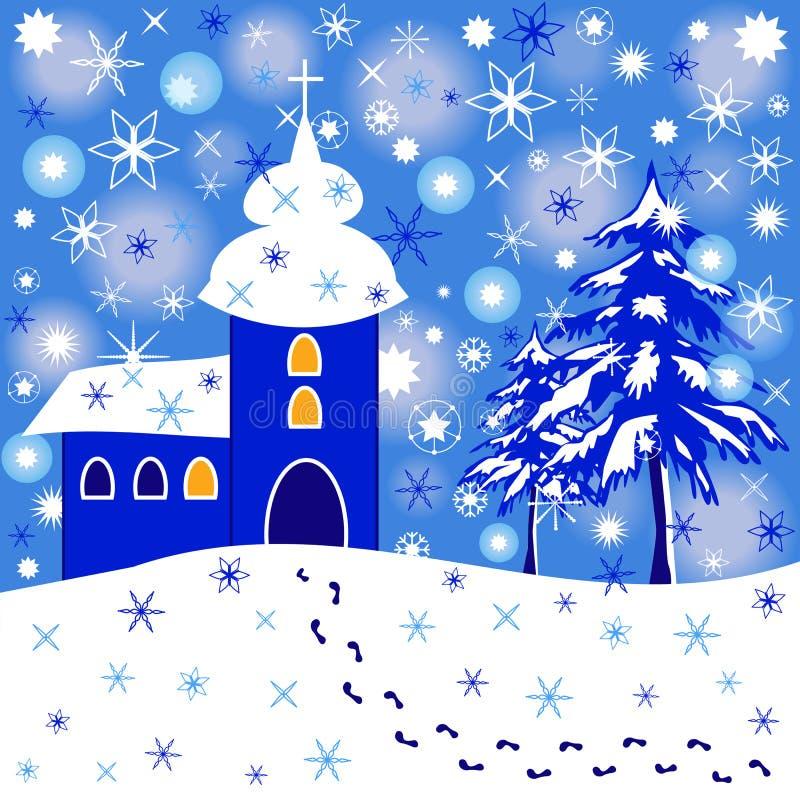 Ilustração dos desenhos animados da cena do inverno com igreja e árvores ilustração do vetor