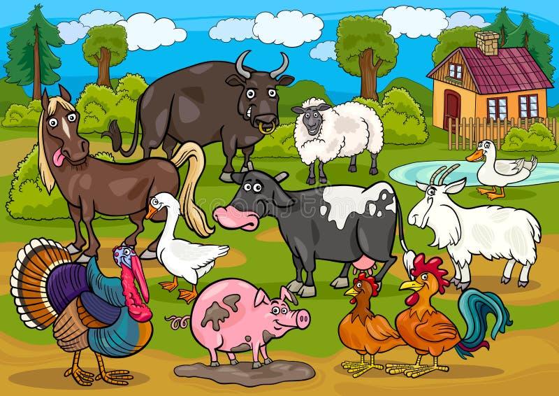 Ilustração dos desenhos animados da cena do país dos animais de exploração agrícola ilustração do vetor