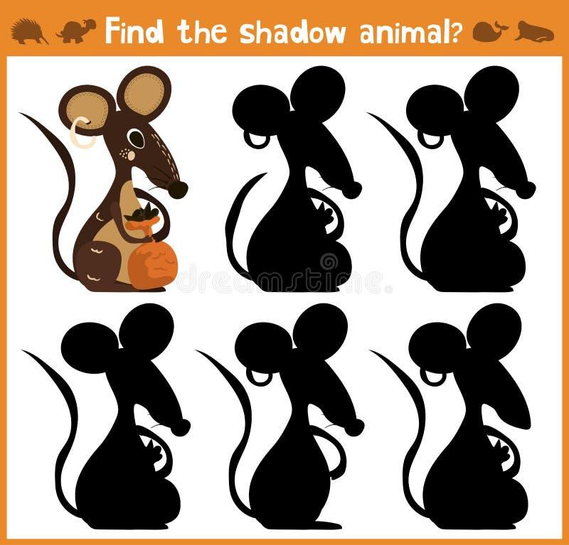 A ilustração dos desenhos animados da educação encontrará o rato apropriado do animal da silhueta da sombra ilustração do vetor