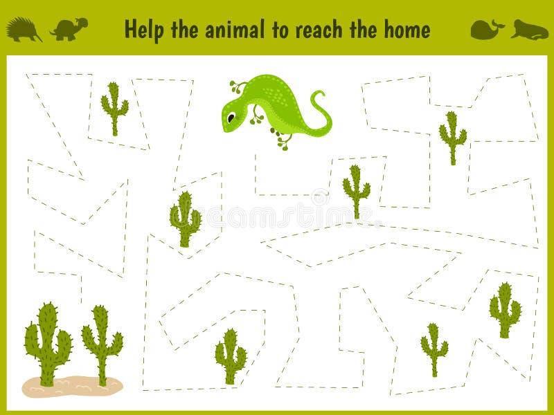 Ilustração dos desenhos animados da educação O jogo de harmonização para crianças prées-escolar segue o trajeto de um lagarto no  ilustração do vetor