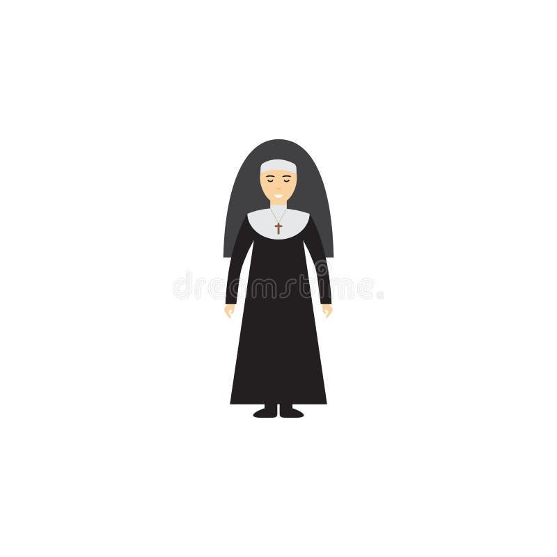 Ilustração dos desenhos animados da freira Elemento do ícone dos desenhos animados da profissão para apps móveis do conceito e da ilustração stock
