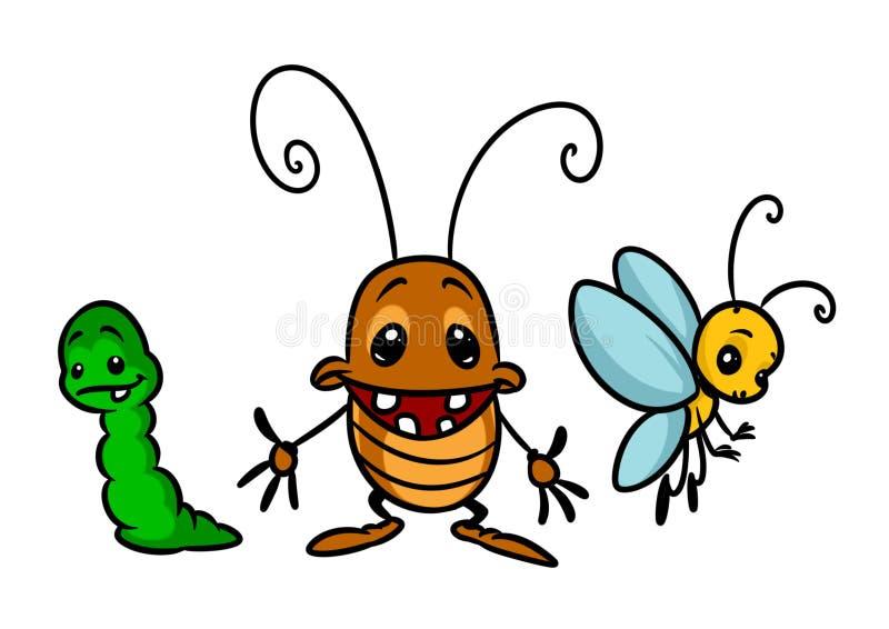 Ilustração dos desenhos animados da lagarta da borboleta do besouro dos caráteres do inseto ilustração royalty free