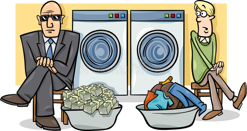Ilustração dos desenhos animados da lavagem de dinheiro ilustração do vetor