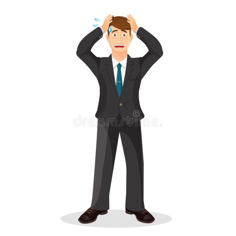 Ilustração dos desenhos animados da pessoa da ansiedade Homem novo ansioso e triste ilustração stock