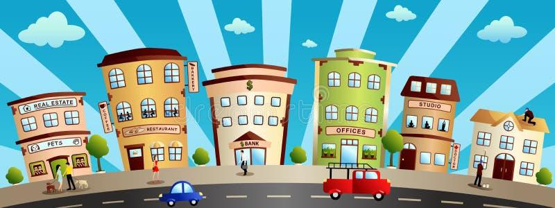 Ilustração dos desenhos animados das construções e das lojas da cidade ilustração royalty free