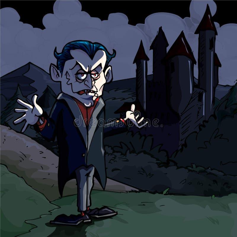 Ilustração dos desenhos animados de Dracula e de castelo ilustração stock