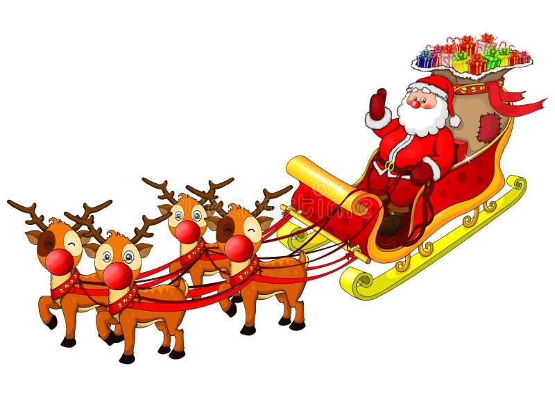Ilustração dos desenhos animados de Papai Noel em seu trenó ilustração stock