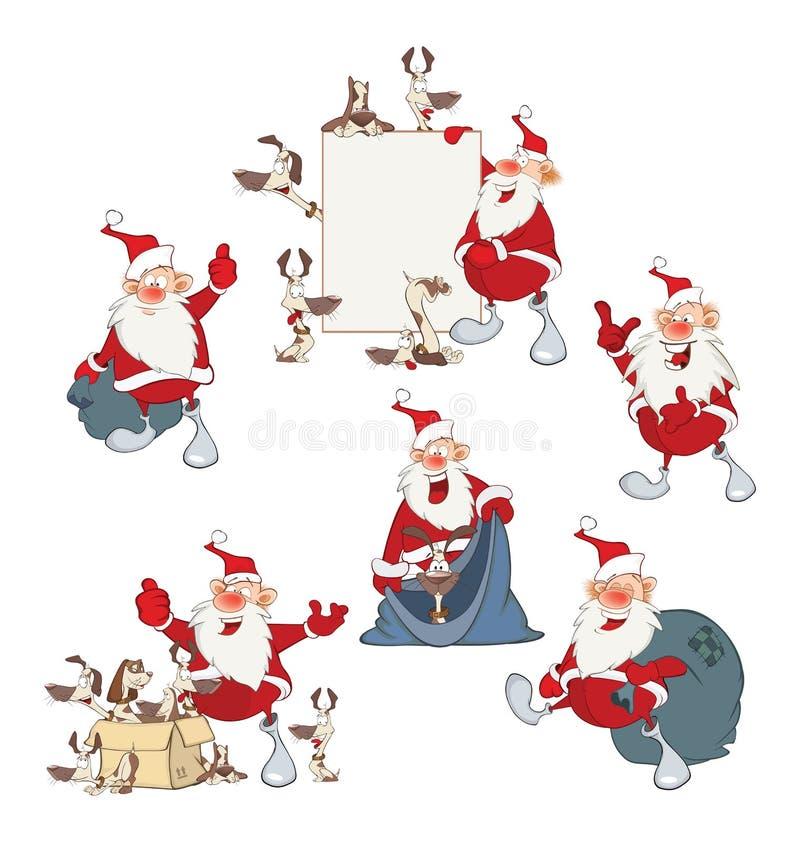 A ilustração dos desenhos animados de Santa Claus bonito engraçada para você projeta ilustração stock