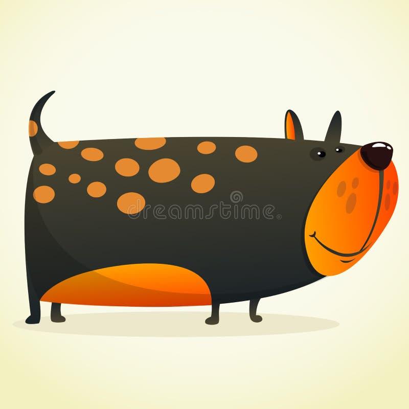Ilustração dos desenhos animados de um buldogue bonito Cão preto do vetor no branco ilustração royalty free