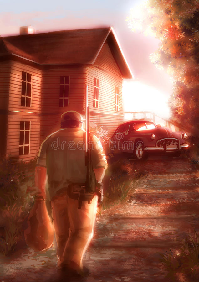 Ilustração dos desenhos animados de um caçador masculino que anda em casa no por do sol ilustração royalty free