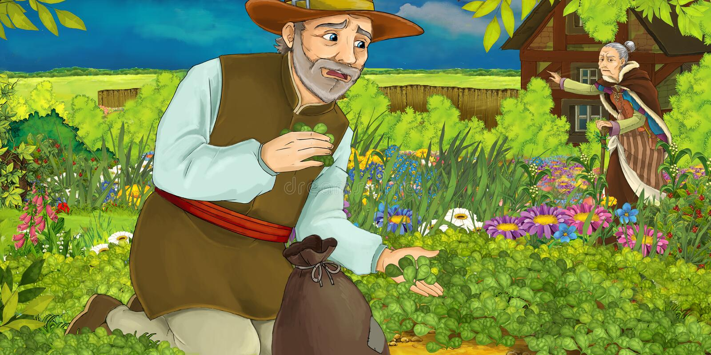 Ilustração dos desenhos animados de um homem que recolhe ervas no jardim - com uma mulher adulta no fundo ilustração royalty free