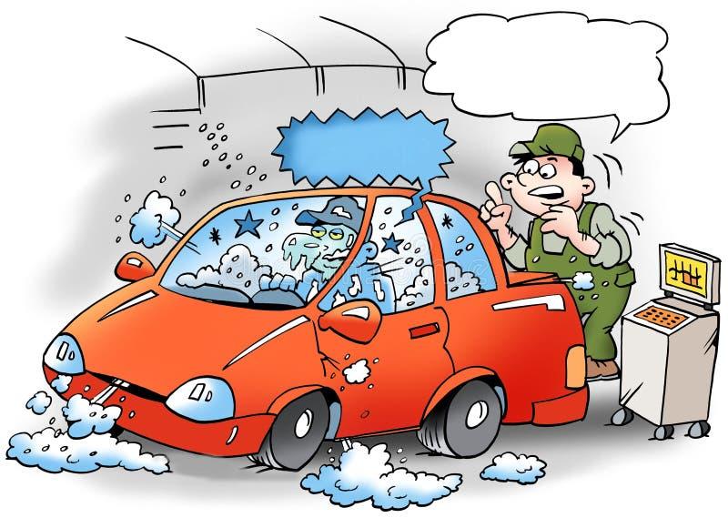 Ilustração dos desenhos animados de um mecânico que teste o condicionador de ar no carro ilustração do vetor
