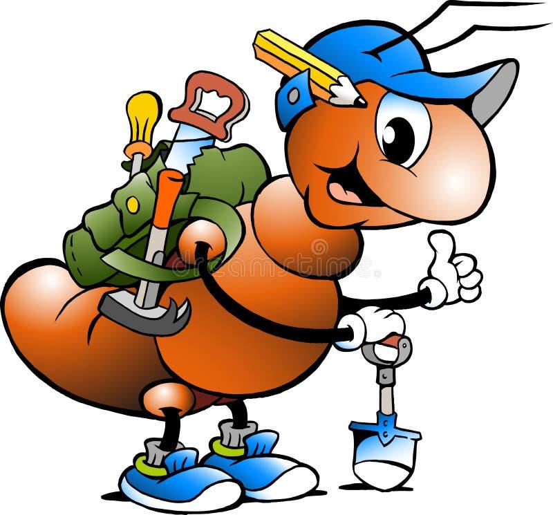 Ilustração dos desenhos animados de uma formiga de trabalho feliz ilustração royalty free