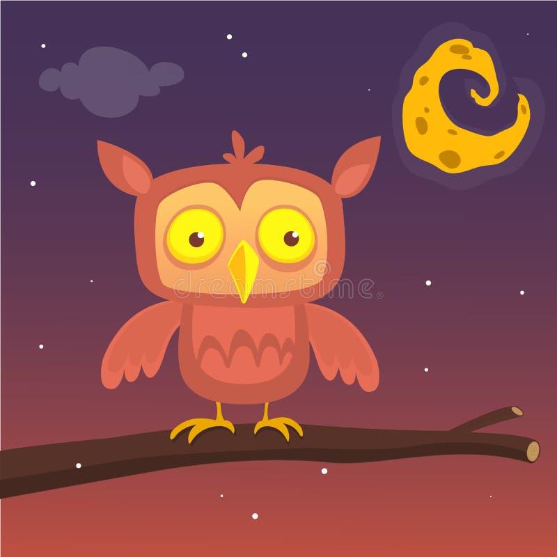 Ilustração dos desenhos animados de uma grande coruja horned em um ramo que mostra em silhueta a Lua cheia Vetor do EPS 10 Projet ilustração stock