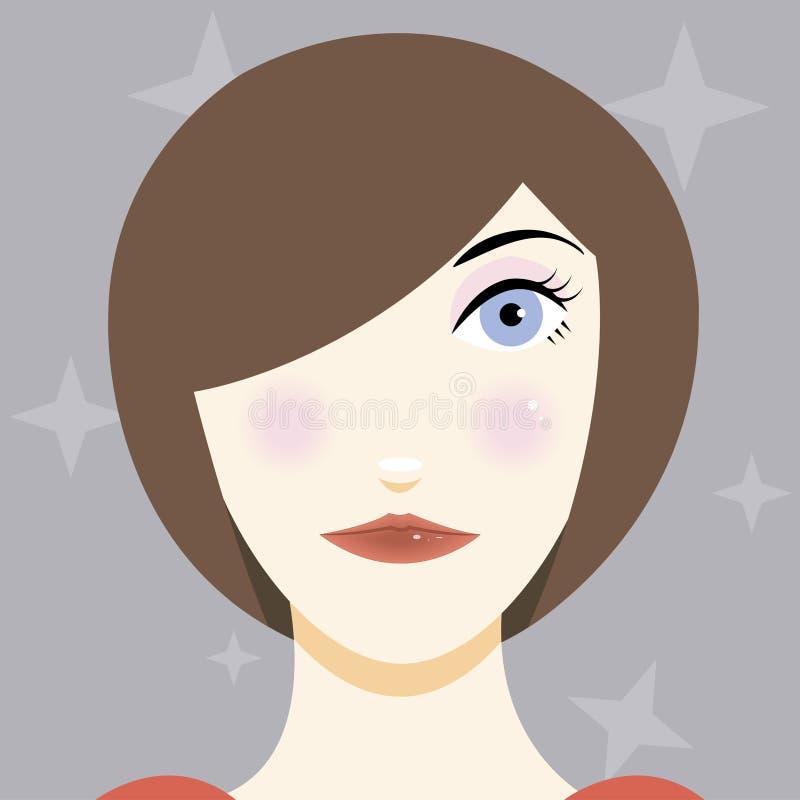 Ilustração dos desenhos animados de uma moça bonita ilustração do vetor