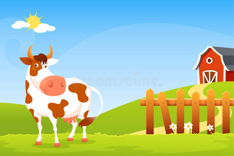 Ilustração dos desenhos animados de uma vaca feliz em uma exploração agrícola ilustração royalty free
