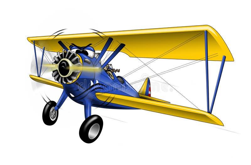 Ilustração dos desenhos animados de Warbird do biplano de WWI ilustração do vetor