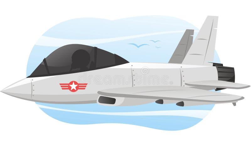 Ilustração dos desenhos animados do avião do jato do combate ilustração royalty free