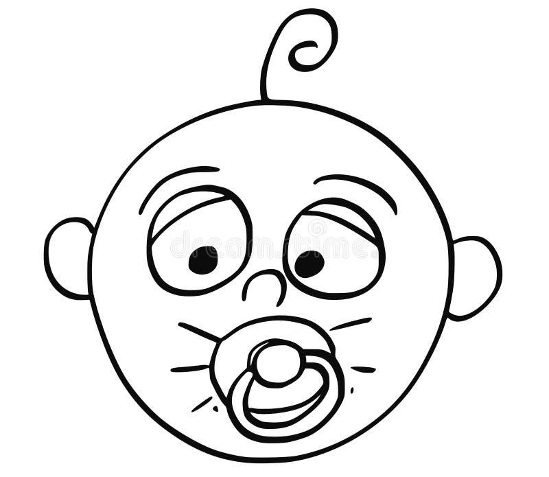 Ilustração dos desenhos animados do bebê com manequim ou cobertor ou chupeta ilustração do vetor