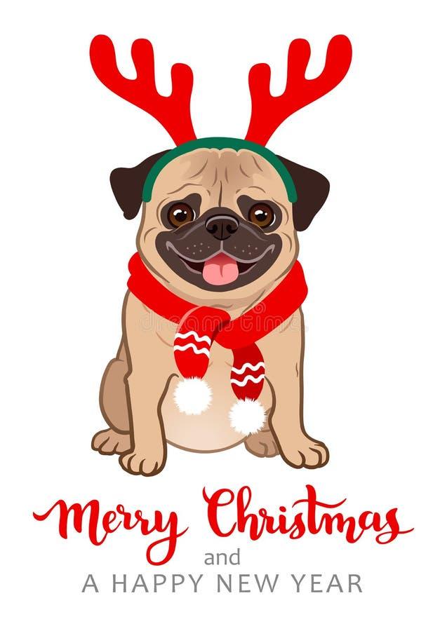 Ilustração dos desenhos animados do cão do pug do Natal Carnudo gordo amigável bonito ilustração stock