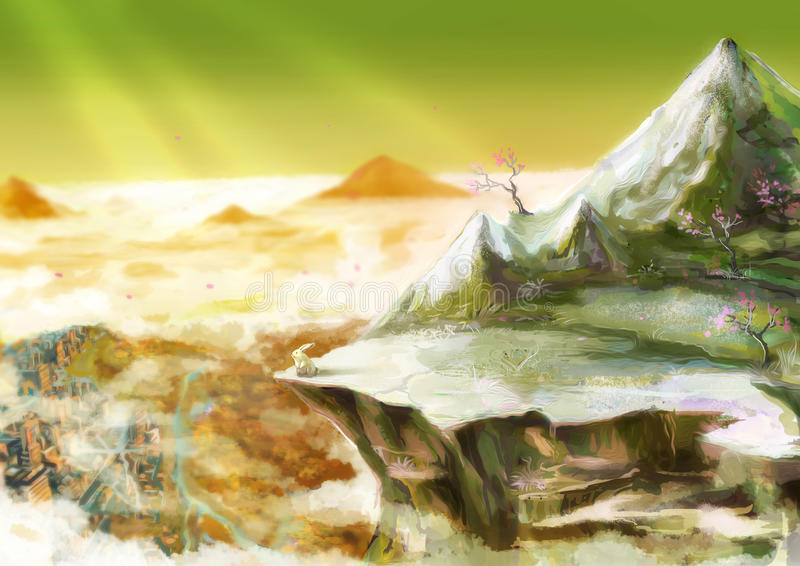 A ilustração dos desenhos animados do coelho branco bonito do coelho está estando sobre ilustração stock