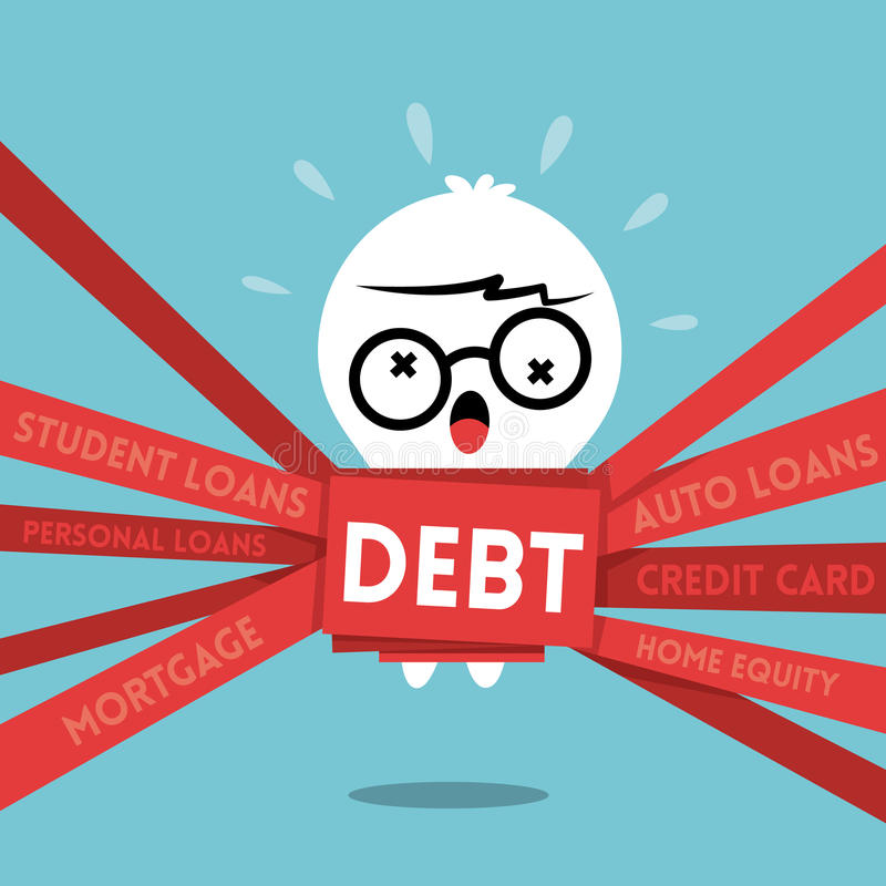 Ilustração dos desenhos animados do conceito do débito com um homem envolvido acima na burocracia ilustração royalty free