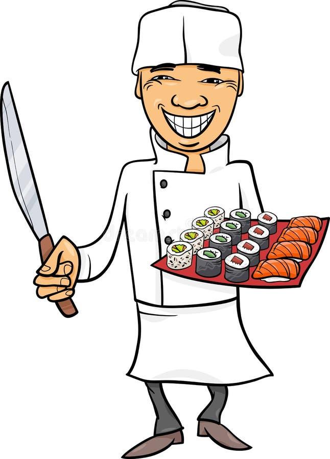 Ilustração dos desenhos animados do cozinheiro chefe de sushi de Japão ilustração stock