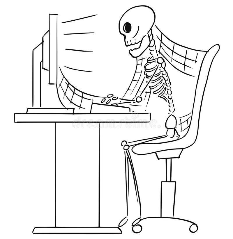 Ilustração dos desenhos animados do esqueleto humano do homem de negócios inoperante Sitti ilustração royalty free