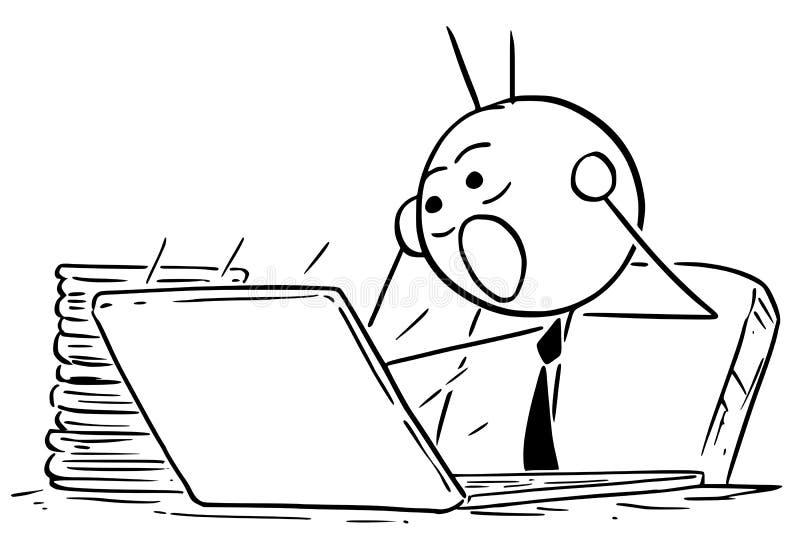 Ilustração dos desenhos animados do gerente Businessman do caixeiro do trabalhador de escritório ilustração royalty free