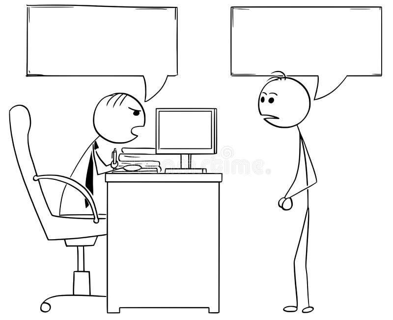 Ilustração dos desenhos animados do gerente Talking do chefe com empregado do sexo masculino ilustração royalty free