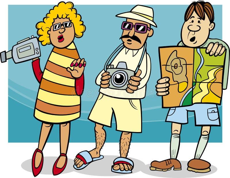 Ilustração dos desenhos animados do grupo do turista ilustração stock