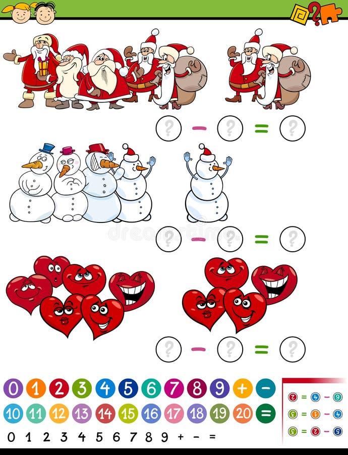 Ilustração dos desenhos animados do jogo da matemática ilustração do vetor