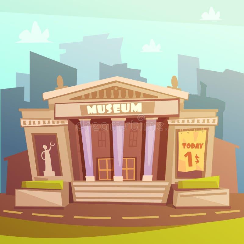Ilustração dos desenhos animados do museu ilustração do vetor