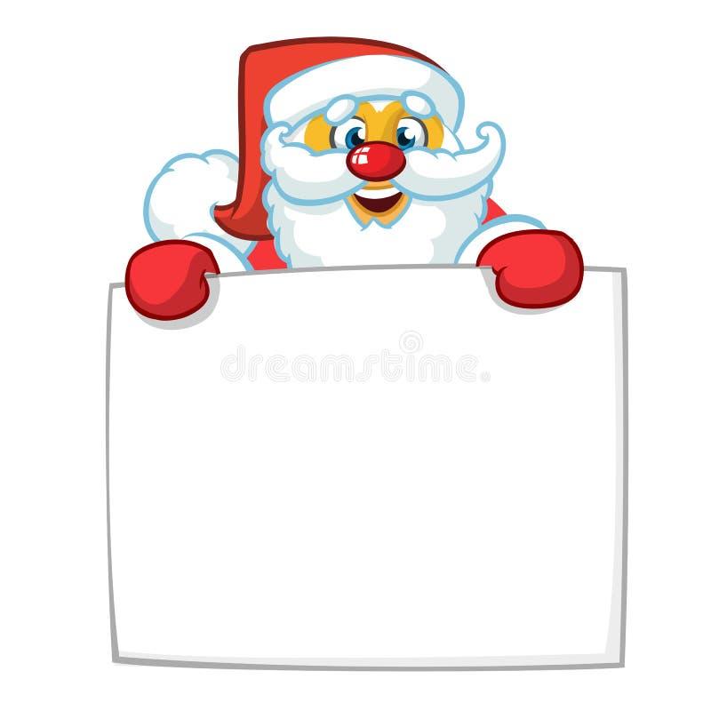 Ilustração dos desenhos animados do Natal do caráter engraçado de Santa Claus que guarda o rolo ou o sinal vazio para o texto de  ilustração stock