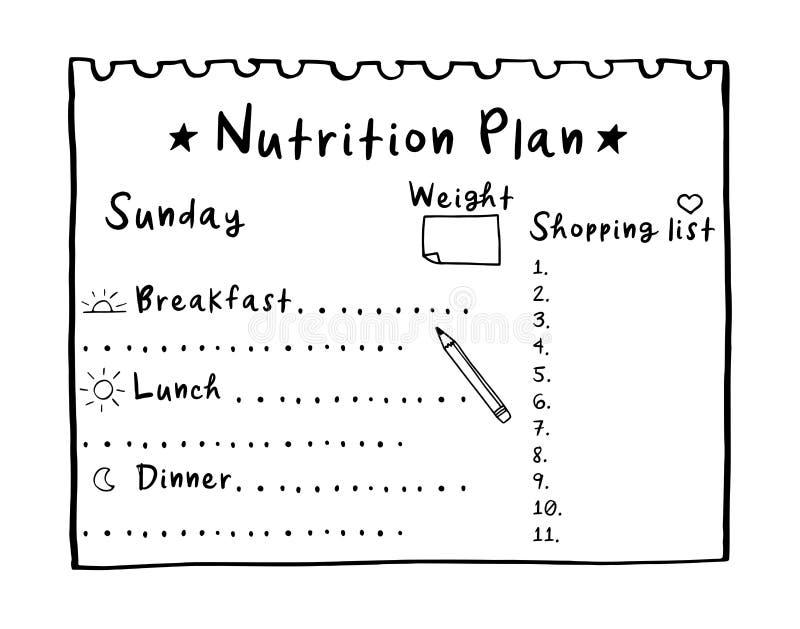Ilustra??o dos desenhos animados do plano da nutri??o, do plano tirado m?o da dieta da lista de compra para o caf? da manh?, do a imagens de stock royalty free